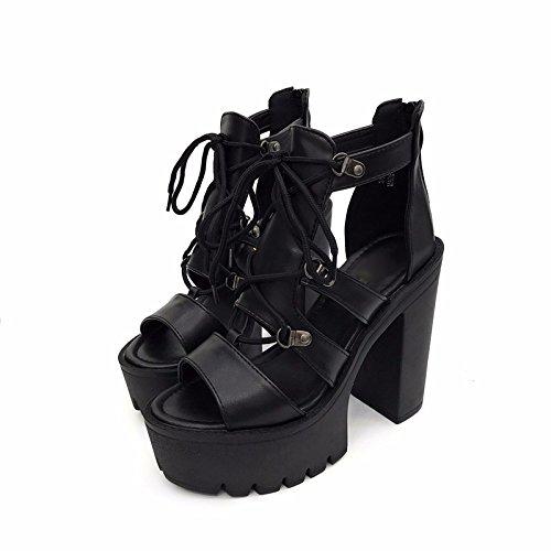 GTVERNH-black 8.5cm sola scarpa in primavera e in estate di moda ultra - tacchi alti spesso fondo impermeabile piattaforma spessa scarpe con tacchi svuotata roma punta sandali tacco alto,39 Thirty-nine