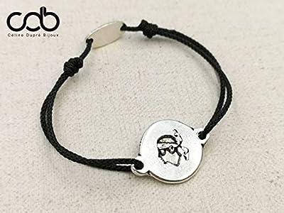 """Bracelet cordon tressé""""Tête de maure Corse"""" ø18mm finition argent 925"""