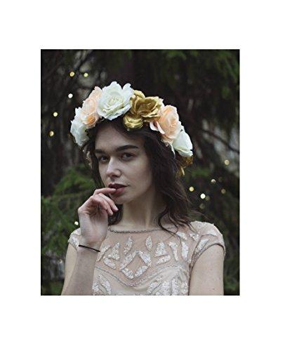 Grande fleur rose Ivoire Or cheveux Bandeau Couronne Couronne Guirlande Big Festival V02 * * * * * * * * exclusivement vendu par – Beauté * * * * * * * *