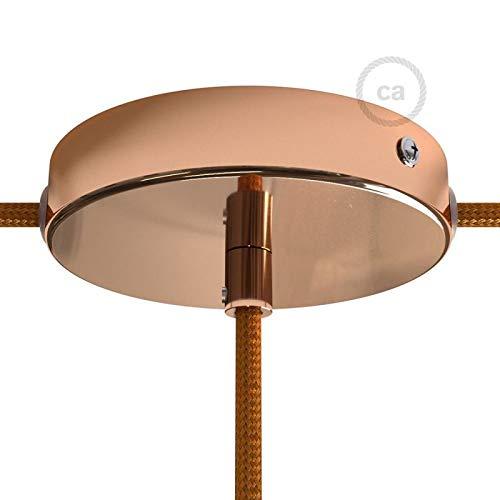 Kit Rosace en métal cuivré avec Serre-câble cylindrique, 1 Trou Central et 2 Trous latéraux, Accessoires Inclus