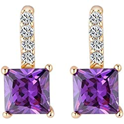 Dangling Ohrringe Zirkon Dekoration Kupfer Hypoallergen Classic Drop Dangle-Ohrringe für Hochzeit Ohrringe Geschenk(Gold + Purple)