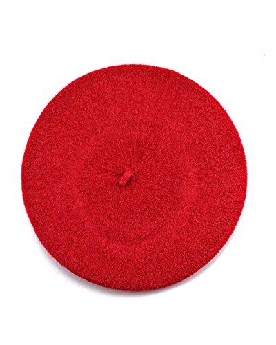 NYfashion101francese stile leggero casual classic Solid colore lana Beret Red