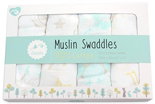 e Unisex 100% weiche Baumwolle swaddle Musselin Decken - 120cm x 120cm (48 Zoll x 48 Zoll) Spaß Tier Designs (Junge Elefant-baby-dusche)
