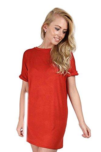 Femmes Uni Élastique Manche Revers Baggy Coupe Large Surdimensionné T-shirt Top Robe Grande Taille Rouge