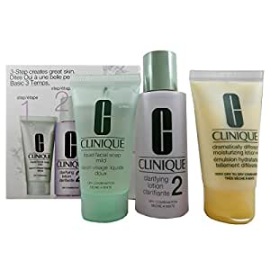 Clinque 3-Phasen-Systempflege Hauttyp 2 (Liquid Facial Soap, Clarifying Lotion Plus Dramatically Different Moisturizing Lotion), 1 Stück