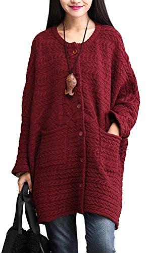 Voguees Damen Strickjacke Übergroße Strickjacke Kurzmantel mit Knöpfen Wein