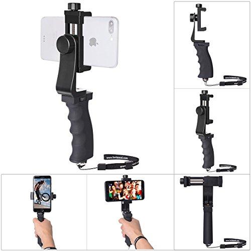 Ergonomischer Griff Handheld Stabillisator Smartphone Handyhalter Handgriff Monopod einstellbare Selfie Stick 360°drehbar Clip für 55-100mm Bildschirm Handy Halterung Klemmer für iPhone Huawei Samsung