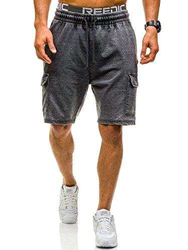 BOLF Herren Kurzhose Sporthose Casual NATURE 4456 Schwarz M [7G7] (Fly Shirt Knopf)