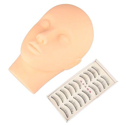 Beauty7 Mannequin Tete Presentoir Plate en Silicone avec 10 Paires Faux Cils pour Pratique Cils Extensions de Cils Maquillage Cosmetologie Entrainement Make up Exercice Eyelashes
