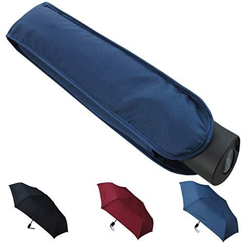 Collar and cuffs london - 4 cm ultra piatto antivento- struttura rinforzata con fibra di vetro - automatico apri e chiudi - robusto - ombrello pieghevole - da viaggio - blu navy