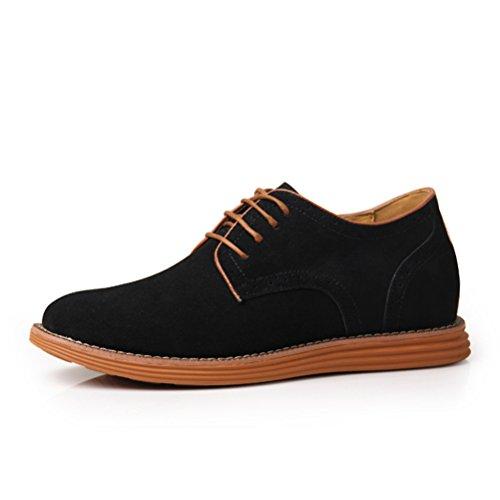 Casuel Chukka chaussure loisir augmentation intérieur haute en cuir véritable de petit taille soulier élevé décontracté tout année homme adulte Noir