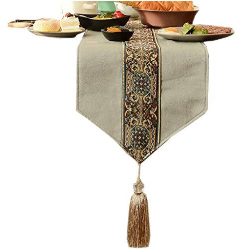 FJH Chemin de table Chinois Table Drapeau Tissu Pendaison Oreille Simple Mode Nordique Café Lit Mariage Hôtel Banquet 2 Couleur 30 cm * 120 cm (Couleur : Gray, taille : 120cm)