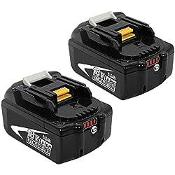 2X BL1860B 18V 5.5Ah Lithium Batterie de Remplacement pour Makita BL1860 B L1850B BL1850 BL1840B BL1840 BL1830B BL1830 LXT-400 avec Indicateur à Led Outil Sans fil