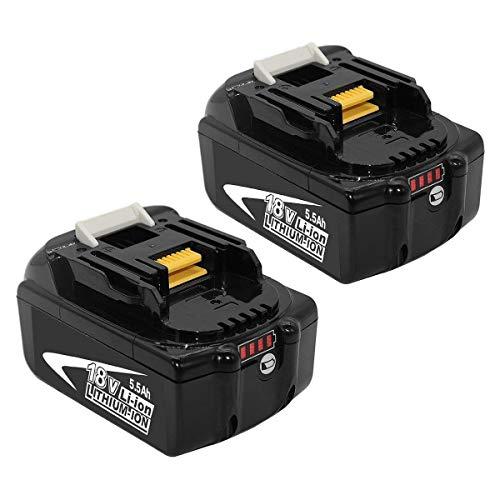 [2 Stück] BL1860B 18V 5.5Ah Lithium Ersatz für Makita Akku BL1850B BL1860 BL1850 BL1840B BL1840 BL1835 BL1845 LXT-400 194204-5 Werkzeugakku mit LED-Anzeigen