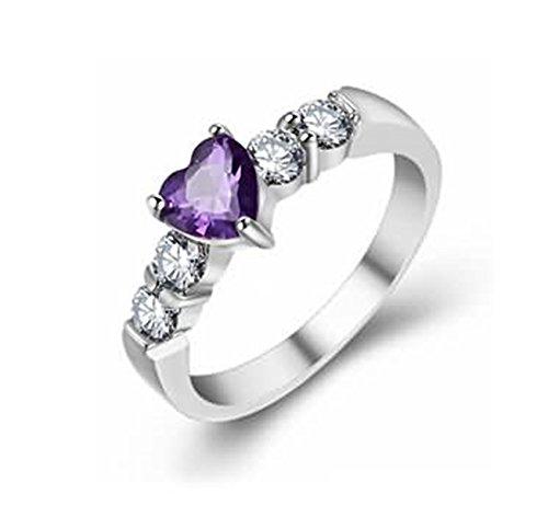 Led-diamond-objektiv (Bishilin Silberring 925 Silber Ring für Sie mit Lila Zirkonia Herz Damen Ring Silber Trauring Große 60 (19.1))