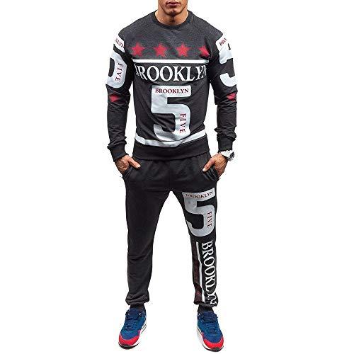 Zolimx Trainingsanzug Herren Herbst Winter Gedruckt Sweatshirt Pullover Top Sport Hosen Sets Sportanzug Anzug Freizeitanzug