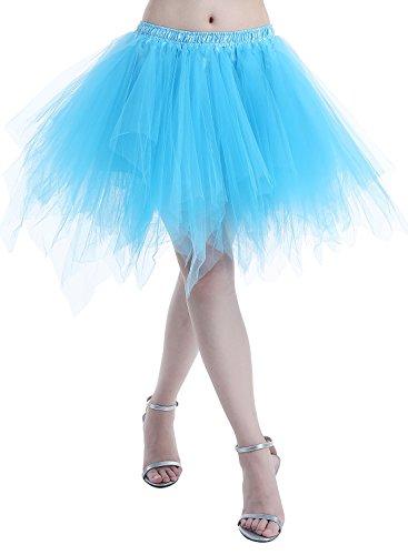 Dressystar Petticoats Minirock Kurz Unterrock Tutu Unregelmäßig Tüll Damen Mädchen Ballettrock Multi-Schichten Blau