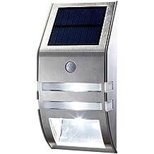 OxyLED® TSP-02 LED brillante con sensor de movimiento activado, energía solar, encendido / apagado automático, iluminación de seguridad exterior de la escalera, paso, Jardín, Patio, Pared, Camino, Casa, Patio - 1 Año de Garantía - Plateado
