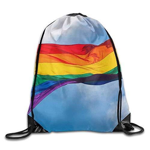 Not afraid Gay Flag Print Drawstring Backpack Rucksack Shoulder Bags Gym Bag Sport Bag
