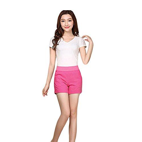 Meijunter Femme Sexy été Cotton Linen Pures Couleurs Pantalons Casual Shorts RoseRed