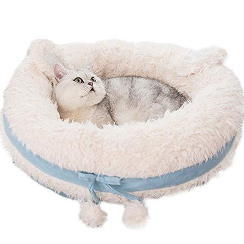 CLEAVE WAVES Hundebett FüR Haustiere Katzen Blaue Runde Matte Comfort Deep Dish Cuddler/Katze Und Hundebettkissen FüR Gelenkentlastung Und Verbesserten Schlaf,M