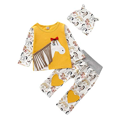 Cuteelf Baby Kostüm Langarm Cartoon Quaste T-Shirt Top Hosen Kleidung Langarm Stereo Cartoon Tier Pony Print Quaste T-Shirt Top + Liebe Cartoon Hosen + Hut Anzug (Baby Pony Kostüm)