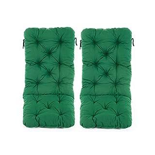Ambientehome 2er Set Hochlehner Auflage Kissen Hanko Maxi, grün, ca 120 x 50 x 8 cm, Rückenteil ca 70 cm, Polsterauflage