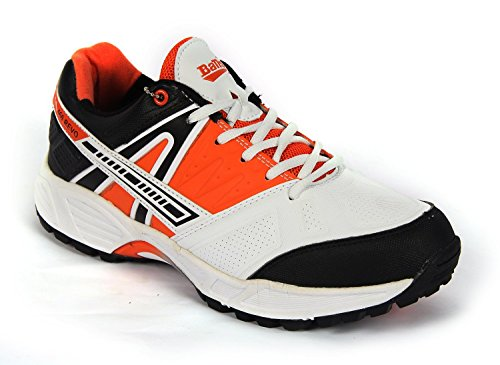 Balls Revo 460 Rubber Spike Cricket / Turf Shoe White Orange Black (IND / UK 12)