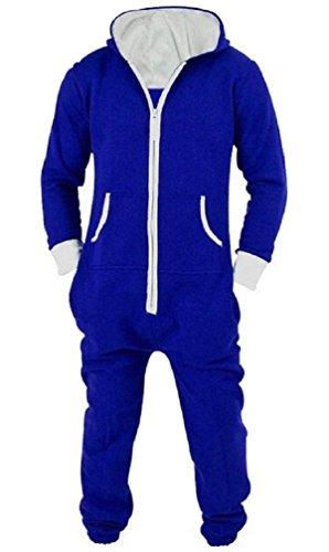 LazLake Herren Jumpsuit Onesie Jogger Einteiler Overall Jogging Anzug Trainingsanzug Slim Fit Blue L