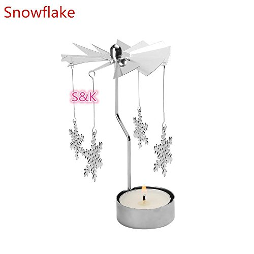 amapower Hot Sale Home Decor Remasuri Kerze Halter drehbar Spinning Weihnachten Teelicht drehbarer by the Fire Snowflake - Kerze-halter-wand-dekoration