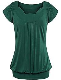 TOPKEAL Camisas Mujer Manga Corta sólido Cuello en v El Verano Blusas Sueltas Mujeres Tops Camisetas