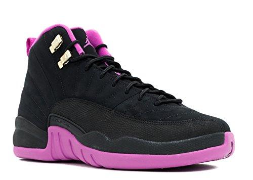 Nike Mädchen Air Jordan 12 Retro GG Basketballschuhe, Black (Black (Schwarz/Gold Star Mtlc-Hypr Vlt)), 39 EU