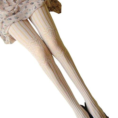 UFACE Strümpfe Strumpfhosen Mode Frauen Reizvolle Net Fisch Bodystockings Muster Strumpfhosen (Weiß, One Size) (Nylon Gestreifte Strümpfe)