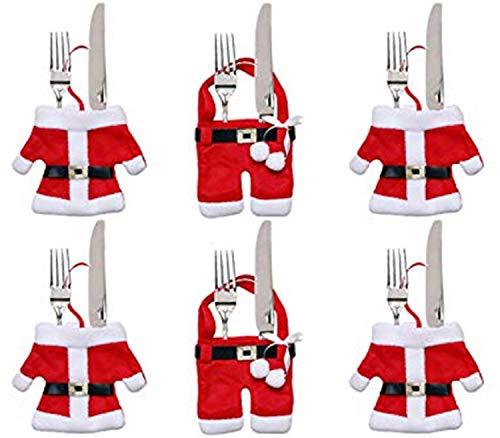 Piccoli monelli porta posate natalizio a forma di vestito babbo natale cf 6 pezzi