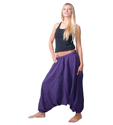 Kunst und Magie Damen Orientalische Haremshose Pumphose Shalwar Hose Muck Aladinhose Hosenrock Purple / Lila