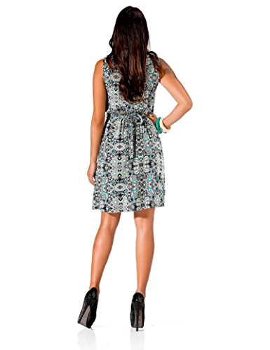24brands femmes été mini robe ethnique motif floral avec fermeture éclair - 3071 Modell 1 Dunkelblau
