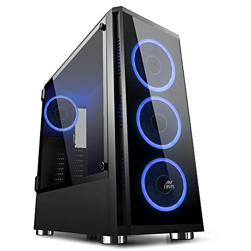 Ant Esports ICE-400TG Mid Tower Gaming Cabinet Computer case Supports ATX, Micro-ATX, Mini-ITX MB with Tempered Glass Front & Tempered Swing Door Left Side Panel, 4 RGB Ring Fan with Remote Control