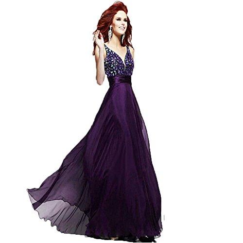June's Young Sexy robe de soirée dos nu longue col V bretelle ruban flottant a paillettes Violet