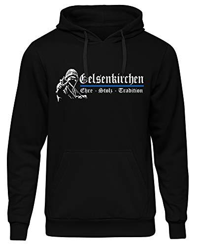 Gelsenkirchen Ehre & Stolz Männer und Herren Kapuzenpullover | Fussball Ultras Geschenk | M1 FB (L)