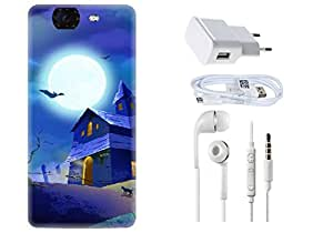 Spygen Micromax Canvas Knight A350 Combo of Premium Quality Designer Printed 3D Lightweight Slim Matte Finish Hard Case Back Cover + Charger Adapter + High Speed Data Cable + Premium Quality Handfree