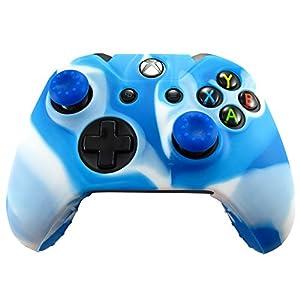 Pandaren® Silikon hülle Skin Schutzhülle für Xbox One Controller (weiß blau) x 1 + Thumb Grip aufsätze x 2