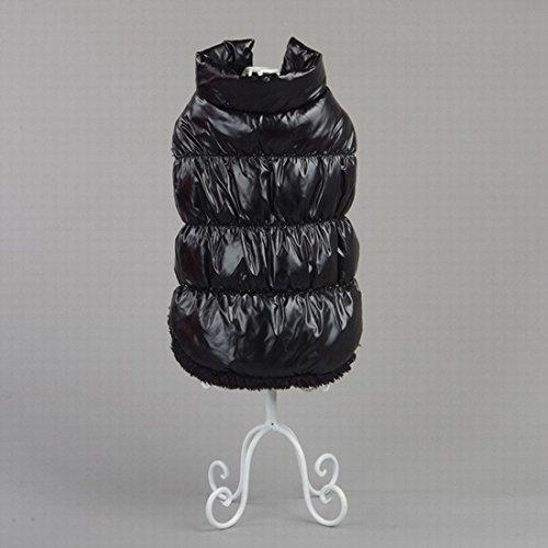 Kismaple manteau imperméable pour chien Veste d'hiver rembourré matelassé Doudoune pour chien Pet chiot vêtements assortis Noir S Poitrine: 35-37CM