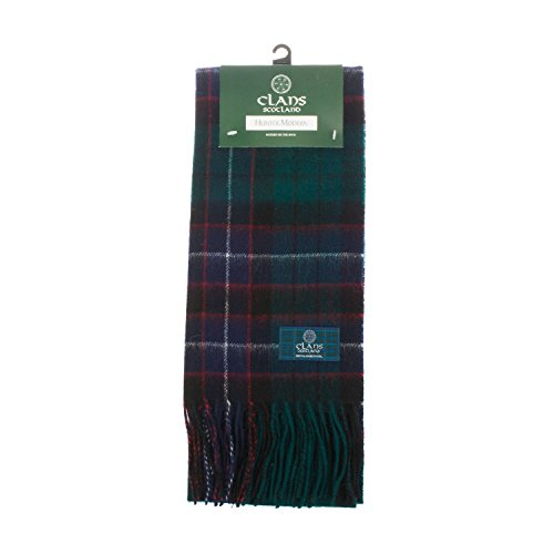 CLANS OF SCOTLAND - Bufanda de lana pura, diseño de cuadros escoceses -  Verde -  talla única
