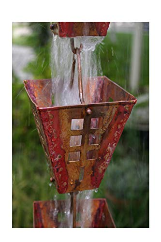 RegenKette zu cup Kupfer antik für Dachrinnen ForHome® Fenster - Fähigkeit Drain 5/5 - Kompletter Kettensatz