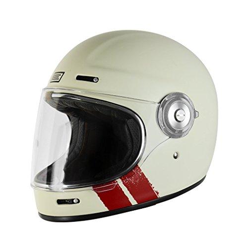 Casco Integrale Fibra Vetro Origine VEGA - Café Racer Vintage (S, Stripe Matt White)