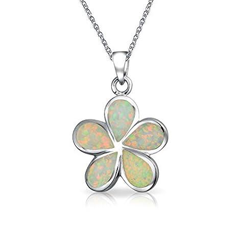 Bling Jewelry Hawaiian Flower Synthetische weiß Opal Anhänger 925er Sterlingssilber Silber 18 Zoll