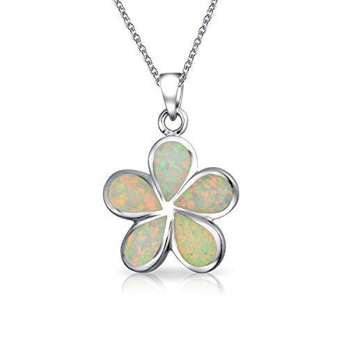Bling Jewelry Gioielli Hawaiian Plumeria fiore bianco Opal Inlay Ciondolo Sterling 18in