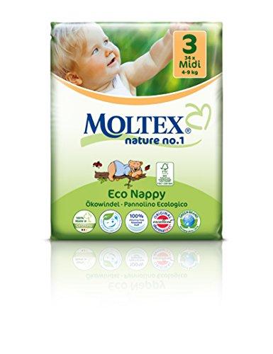 Preisvergleich Produktbild 4er Pack 136 Stück MOLTEX Nature No1 Ökowindeln BÄR Babywindeln MIDI Gr 3 (4-9 kg) 4 x 34 Stück