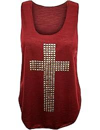 (womens studded cross vest top) (MTC) frauen Gestüt kreuzen Westespitze (36/38 (uk 8/10), (wine) wein)