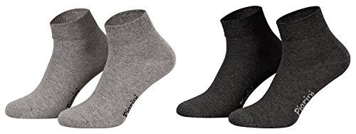 Piarini 8 Paar kurze Socken Kurzsocken Quarter Socken für Damen Herren Kinder | dünn, ohne Gummibund | 4 Paar anthrazit/ 4 Paar grau 43-46
